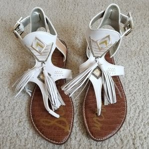 455ac59733b7 Sam Edelman Shoes - Sam Edleman Giblin Fringe Sandal (White Natural)